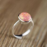 Real Pure 925 Sterling Silver Fire Opal Rings For Women Simple Smooth Design Round Shape Natural Gemstone Ring Anel Feminino