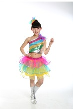 Купить с кэшбэком Free shipping Children's day the clothes show Girls Costume primary school kindergarten modern sequined dance clothing skirt
