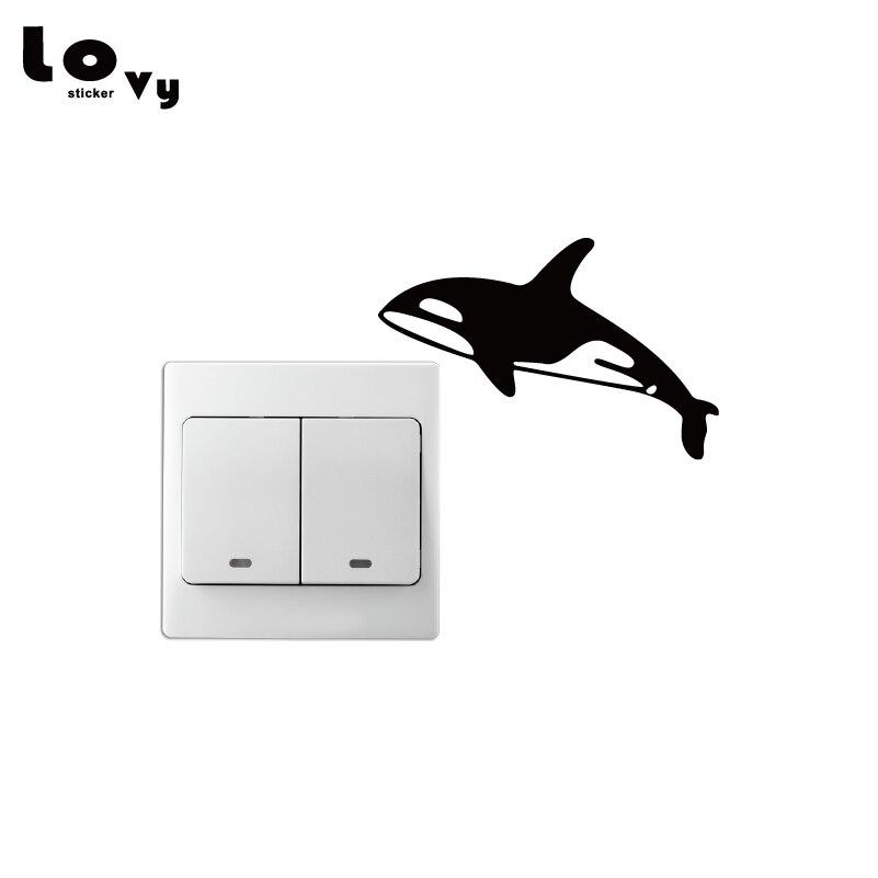 Orca Killer Whale Vinyl Switch Sticker Creative Cartoon Animal Wall Sticker for Bedroom Home Decor SW0080