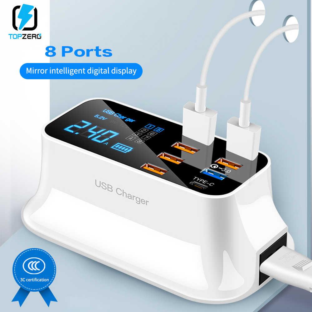 8 portów szybkie ładowanie 3.0 wyświetlacz Led ładowarka USB