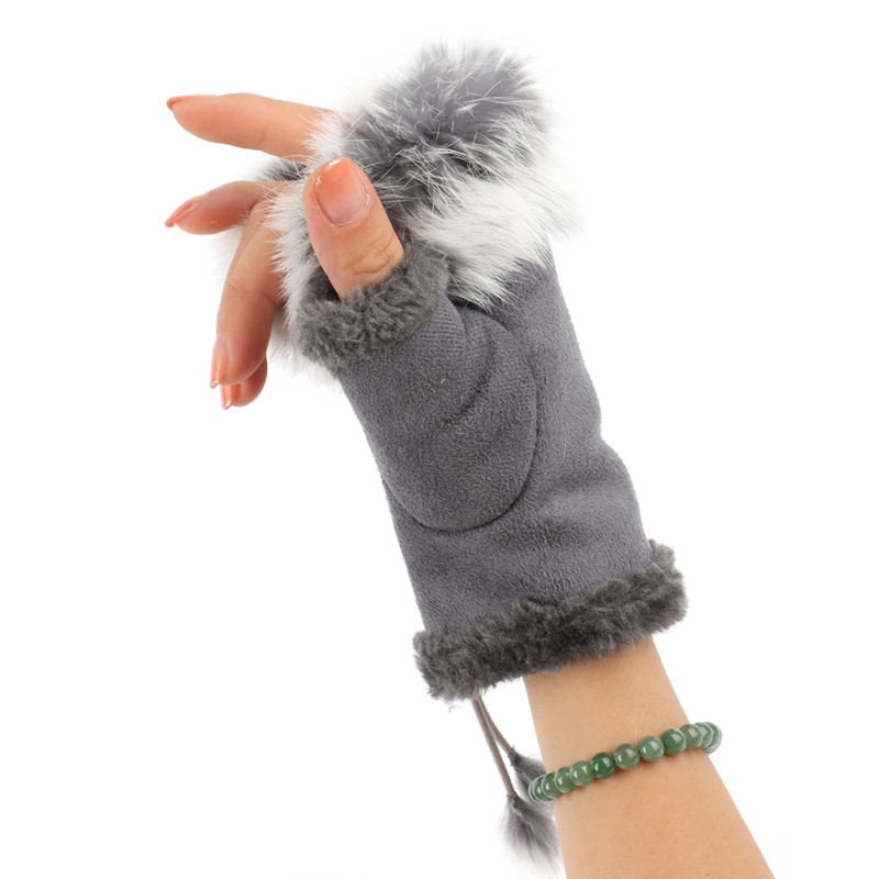 Women's Winter Gloves Imitation Rabbit Hair Wrist Gloves Fingerless Gloves