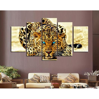 5D Diy Diamond Painting Animal Tiger Pictures Of Rhinestones 5pcs Round Cross Stitch Needlework Home Decorative