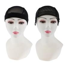 2Pieces Adjustable Weaving Net Wig Cap Making Weave Elastic Hair Black