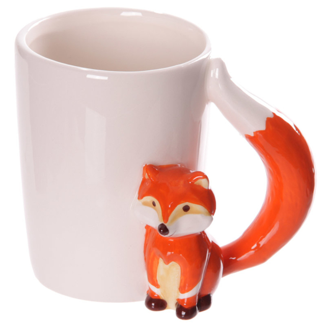 1 Piece Arte Artesanato de Cerâmica Caneca de Cerâmica Para O Amante de Raposa Raposa Punho do Copo de Café Caneca de Presente Divertido Peculiar Bonito Drinkware animais