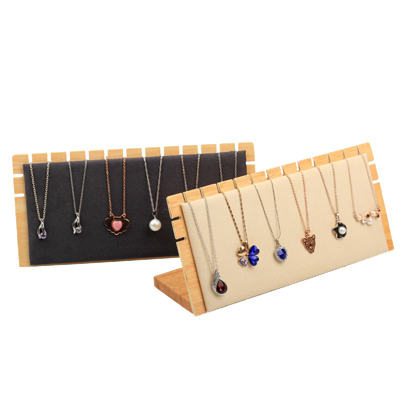 Fashion L-shaped solid wood necklace display stand, jewelry props, creative pendant storage rack
