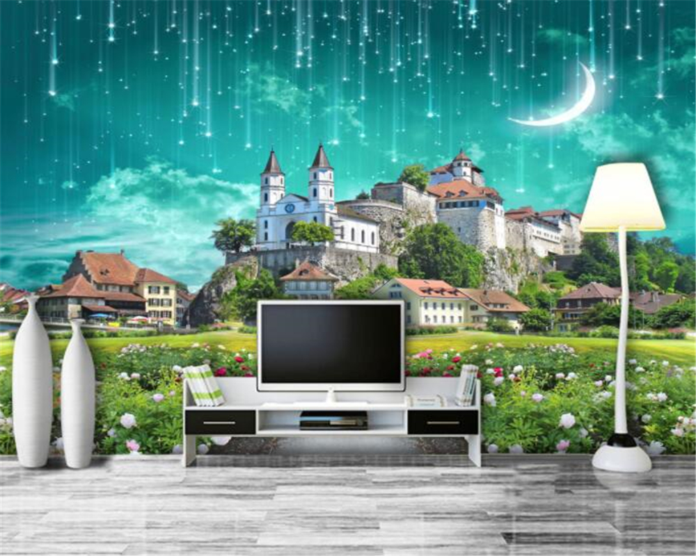 beibehang Classic interior three-dimensional decorative painting wallpaper fantasy city meteor shower 3D background 3d wallpaper
