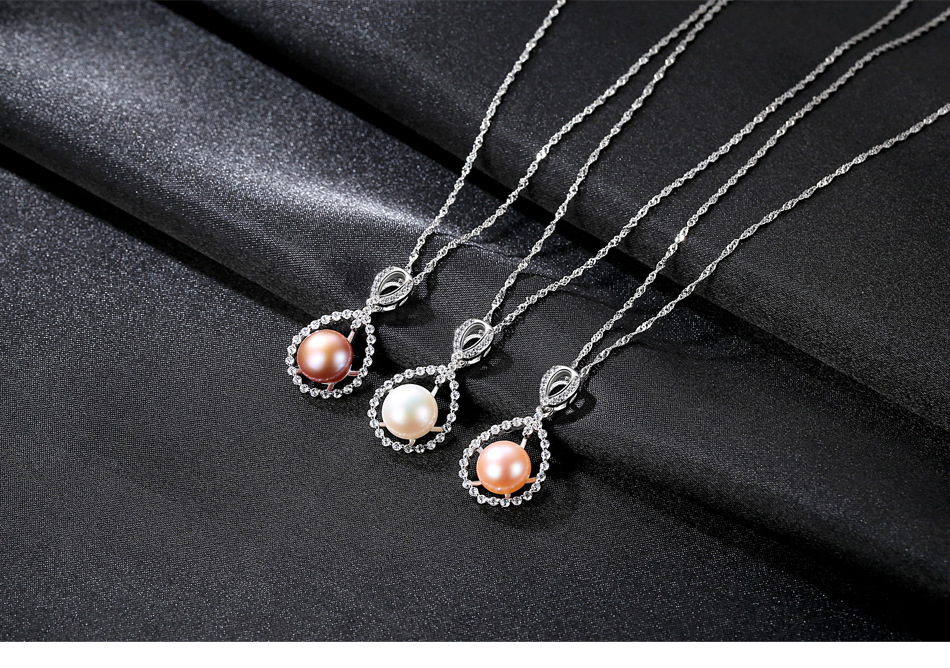S925 Sterling Silver Necklace Natural Freshwater Pearl Zircon Fashion Pearl Necklace LBM25S925 Sterling Silver Necklace Natural Freshwater Pearl Zircon Fashion Pearl Necklace LBM25
