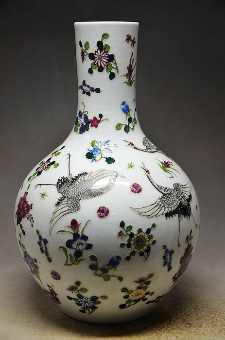 TNUKK Marked Chinese Porcelain Ceramics Birds Crane Zun Cup Bottle Pot Vase Jar decoration.