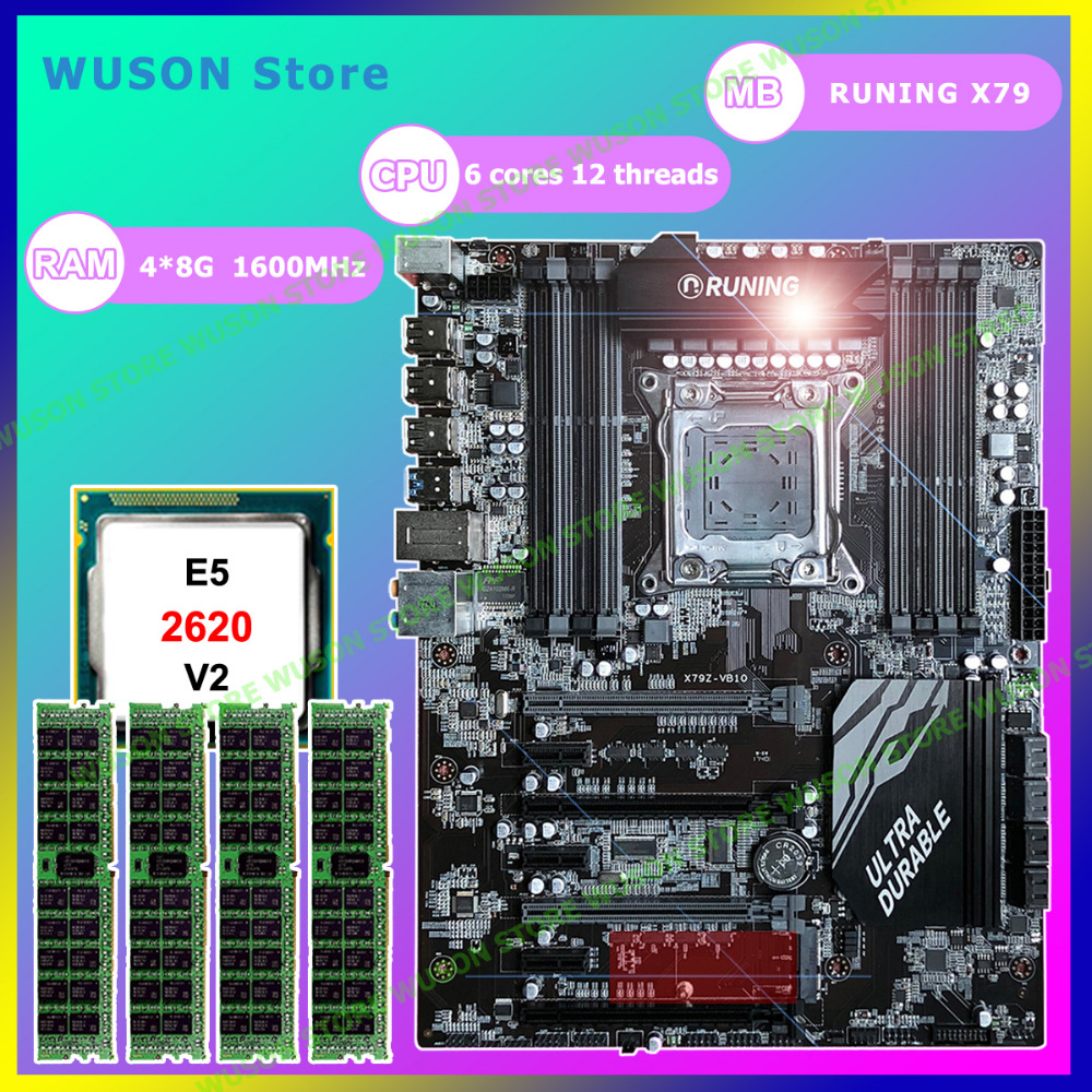 Professional computer supplier brand Runing Super X79 motherboard CPU Xeon E5 2620 V2 2.1GHz RAM 32G(4*8G) 1600MHz DDR3 REG ECC winter baby hat set plush warm baby cap scarf infant hat baby hats for boys girls children cap scarf collars women men caps