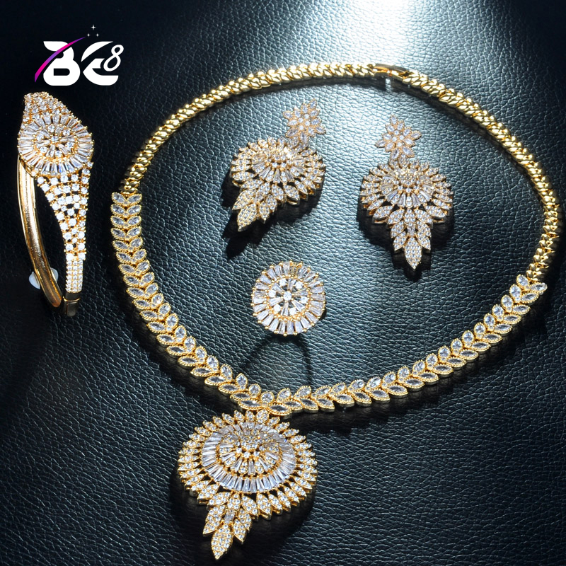 Be 8 Fashion Necklace Earring Jewelry Set Gold Color Cubic Zirconia Nigerian Women Wedding Jewelry Sets for Brides Jewelry S234Be 8 Fashion Necklace Earring Jewelry Set Gold Color Cubic Zirconia Nigerian Women Wedding Jewelry Sets for Brides Jewelry S234