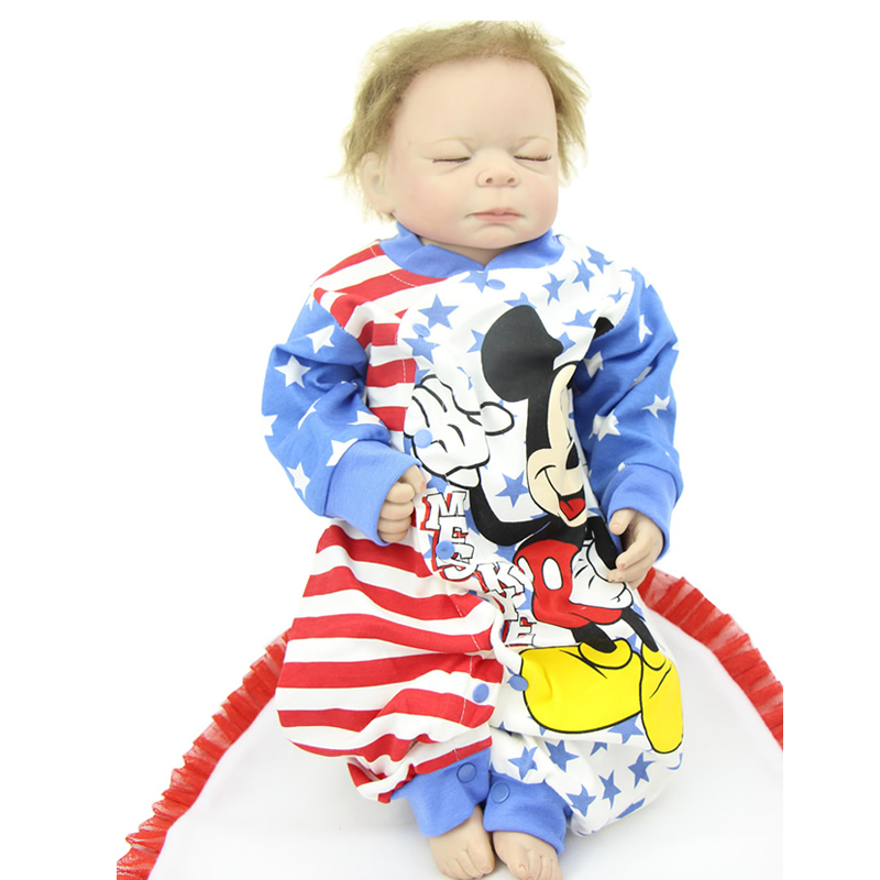 Realistic Cheap Reborn Dolls 20 Inch Full Silicone Vinyl Alive Sleeping Newborn Boy Babies Doll Toy With Mohair Kids Bedtime Toy sleeping realistic baby doll reborn 20 inch newborn full silicone vinyl alive babies dolls with leopard dress kids playmate