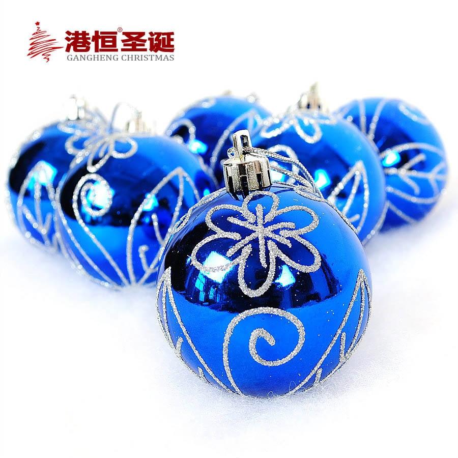 25th wedding anniversary christmas ornament - 6pcs Shinning Blue Christmas Tree Balls Diameter 6cm Silver Plating Decorations Ball Xmas Party Wedding Ornament