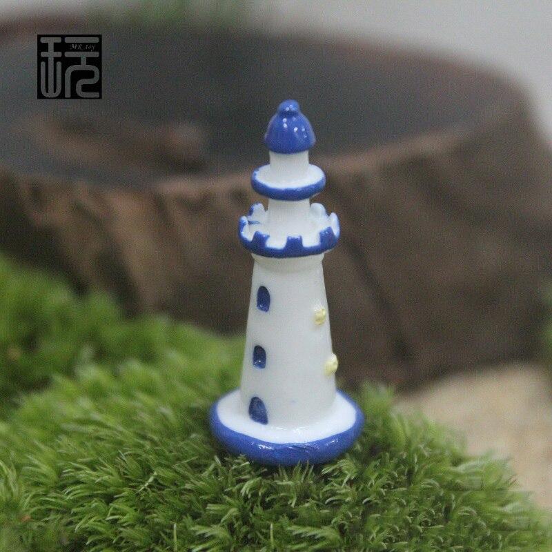 Plastic Lighthouse Tower Mini Fairy Garden Miniatures Gnomes DIY Bonsai/ Terrariums/ Succulents/ Micro Moss Landscape Decoration