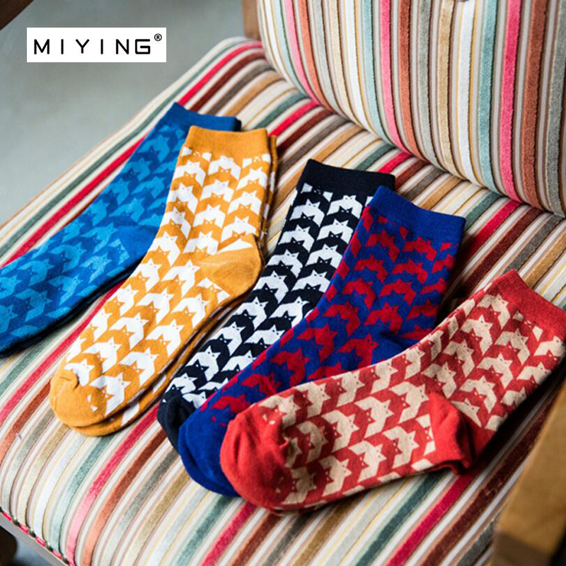 MIYING 5 pairs Happy Socks Wave Stripe Combed Cotton Brand Harajuku Men Socks Colorful Dress Knit Crew Long Funny Socks For Man