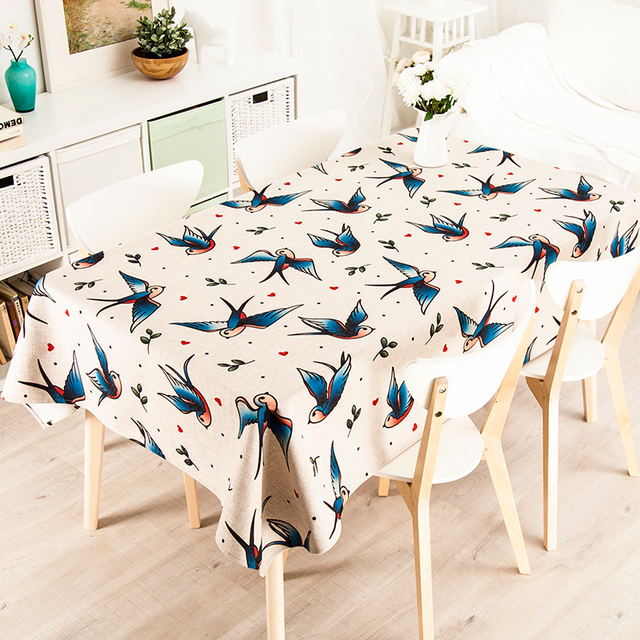 Charmant Simple Cartoon Cute Swallow Cloth Rectangle Tea Table Round Table Cloth  Tablecloth Cotton Green Pastoral Tea