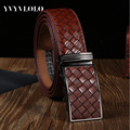 YVYVLOLO Men Belt Fashion Automatic Buckle Genuine Leather Belt Plaid Casual Luxury Belt Strap Waistband Ceinture Homme