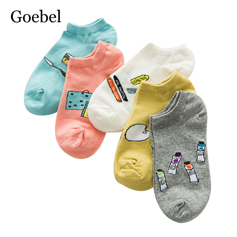 Goebel Women Boat Socks Cute Comfortable Woman Short Tube Socks Candy Colors Small Fresh Girls Summer