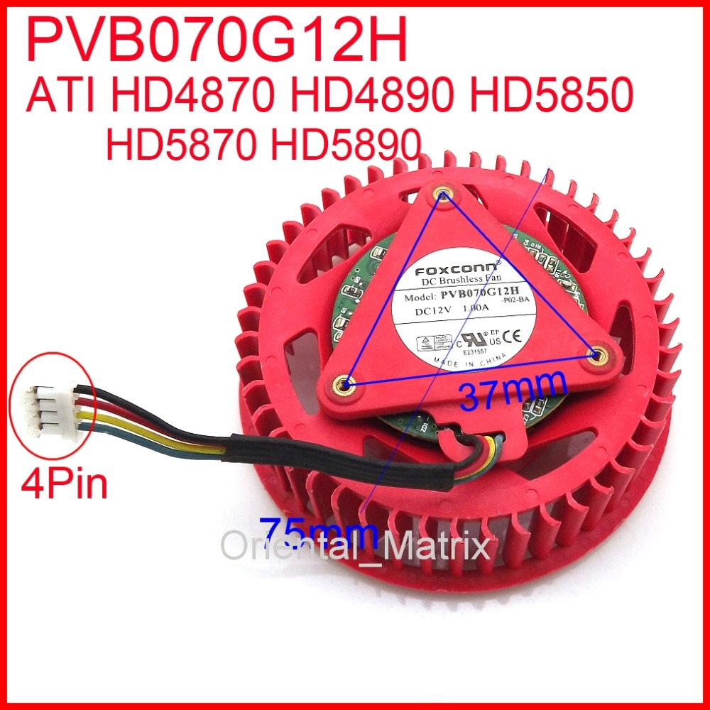 Free Shipping PVB070G12H 12V 1.00A For ATI HD4870 HD4890 HD5850 HD5870 HD5890 Graphics Card Cooler Cooling Fan 4Pin free shipping diameter 75mm computer vga cooler video card fan for his r7 260x hd5870 5850 graphics card cooling