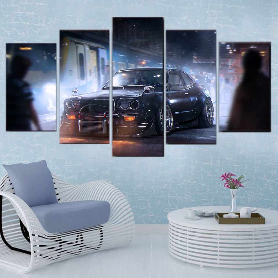 Modern Home Decor Living Room Canvas Paintings Frames 5 Pieces Vintage Sports Car Classic Modular Pictures HD Printed Wall Art