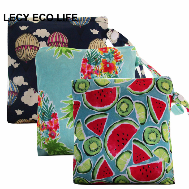 [LECY ECO LIFE] Waterproof PUL printed diaper nappy bag with snap closure handle, 18*18 cm small size wet bag, baby snack bag