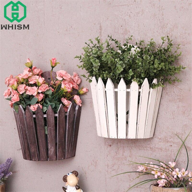 Whism Creative Wood Flower Box Wall Shelf Artificial
