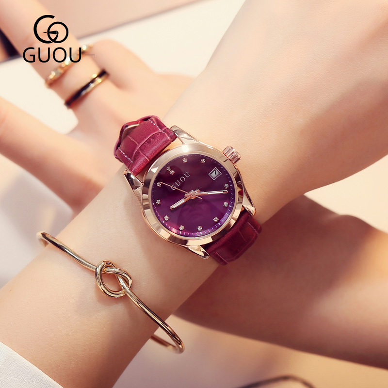 HK Fashion Design Women Watches GUOU Brand Wrist Leisure simple Trendy Rhinestone Quartz Wristwatch Waterproof Relogio