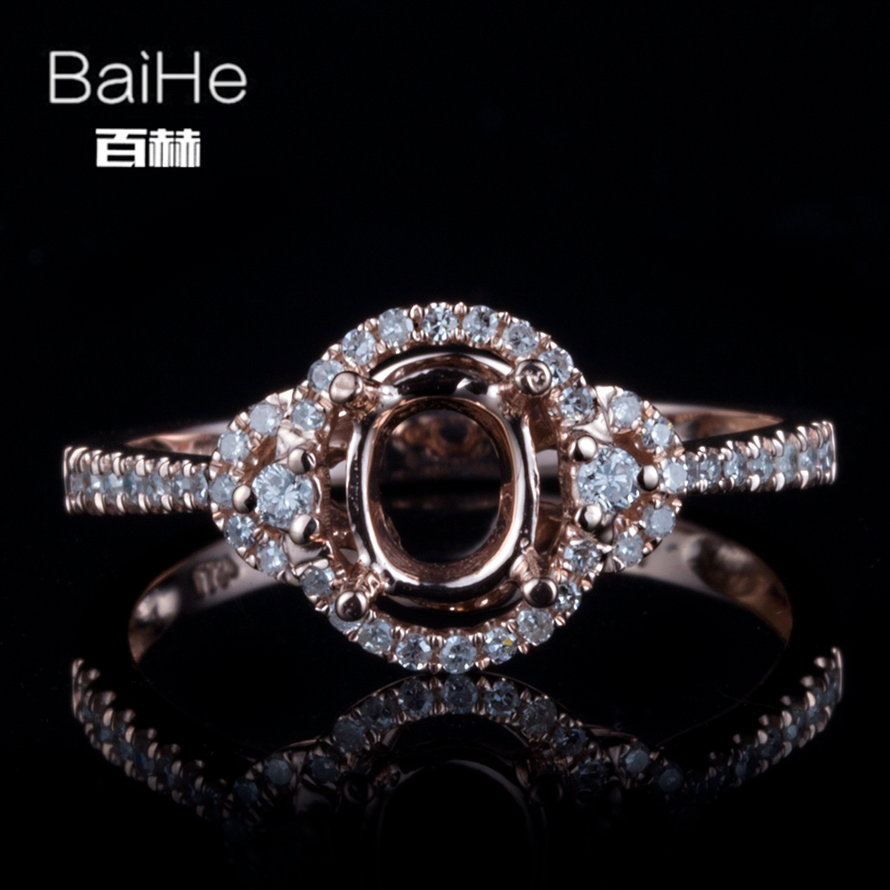 BAIHE Solid 14K Rose Gold Certified Oval cut Engagement Women Trendy Fine Jewelry Elegant unique Semi Mount Ring                BAIHE Solid 14K Rose Gold Certified Oval cut Engagement Women Trendy Fine Jewelry Elegant unique Semi Mount Ring