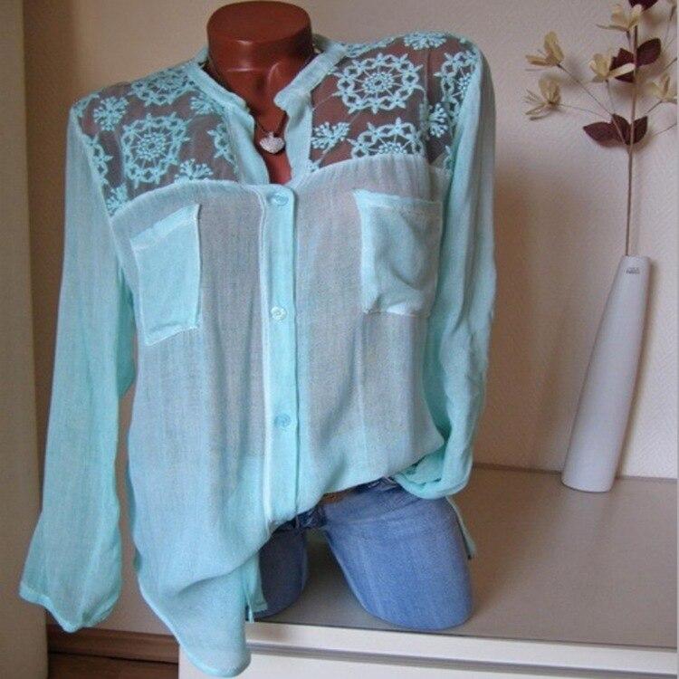 Aprmhisy Hot New Fashion Summer Tops Blouses Women Elegant Hollow Out Flower Pockets Shirts Blusas Feminina 5