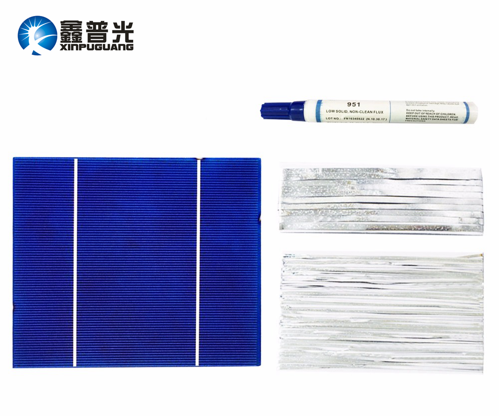 Xinpuguang DIY solar panel kits 30 pcs 156*130mm polycrystalline solar cell flux pen+tab wire+bus wire for 100w Solar panel