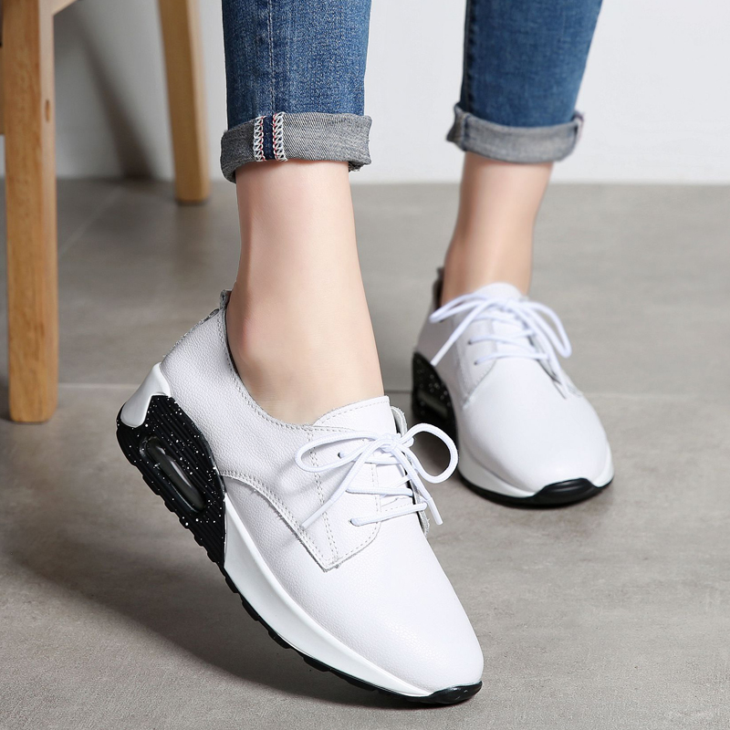 Monrinda New Women Leather Running Shoes High Top Sneakers White Sport Shoes Woman Athletic Walking Shoes Des Baskets Femme 8817 high quality walking shoes thick crust sneakers female ins the hottest shoes 2018 new small white women s sport shoes wk46