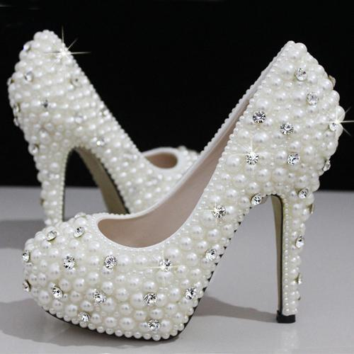 Elegant Fashion Luxurious Pearls Crystals White Wedding Shoes Size 12 Cm High Heels  Bridal Shoes Party Prom