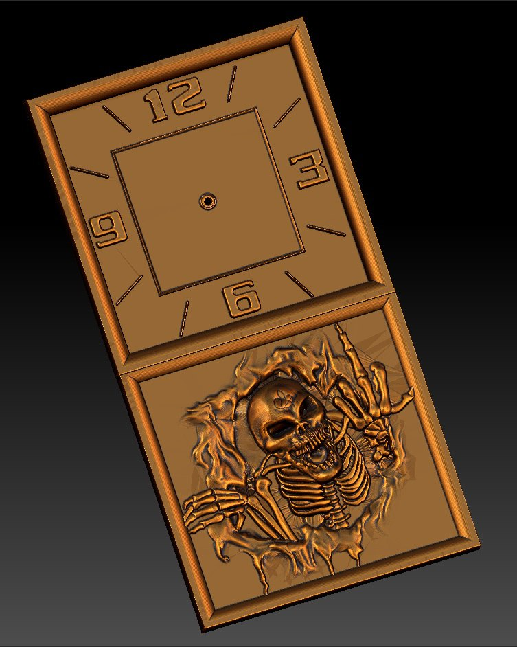 Digital File In STL Format Clock For CNC 3D Relief Carving Engraving C36-21