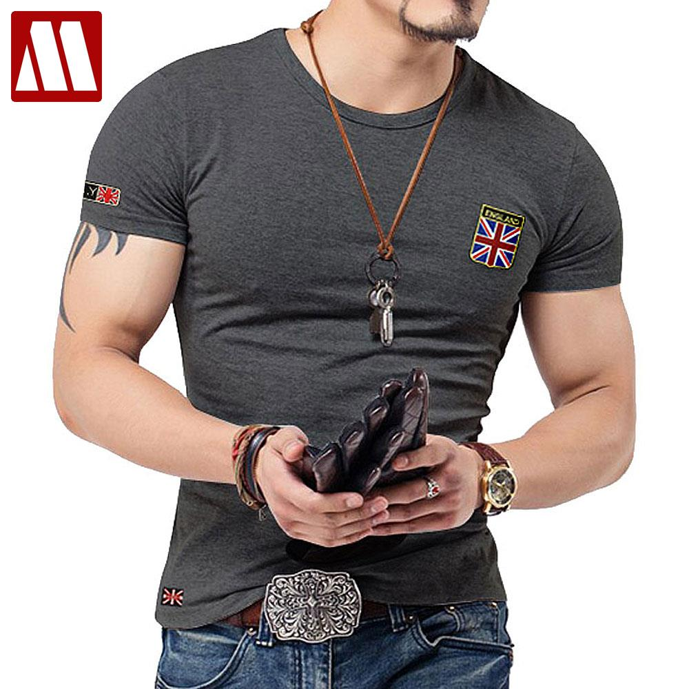 Embroidered flag t shirts men designer clothes vintage Fitness shirts for men