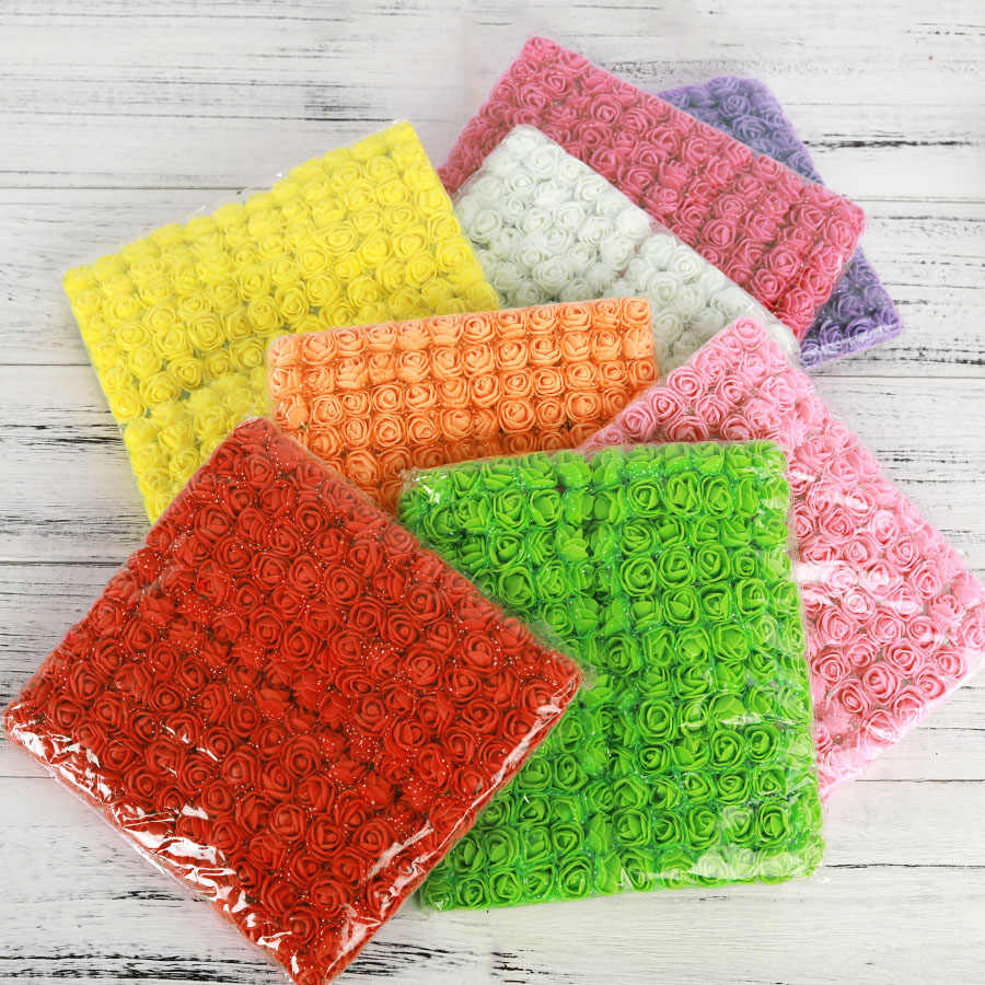 144 PCS Mini Multicolor Rosa Fiori Artificiali Schiuma Materiale Falso Bouquet di Fiori Decorazione di Scrapbooking per la Casa di Nozze FAI DA TE