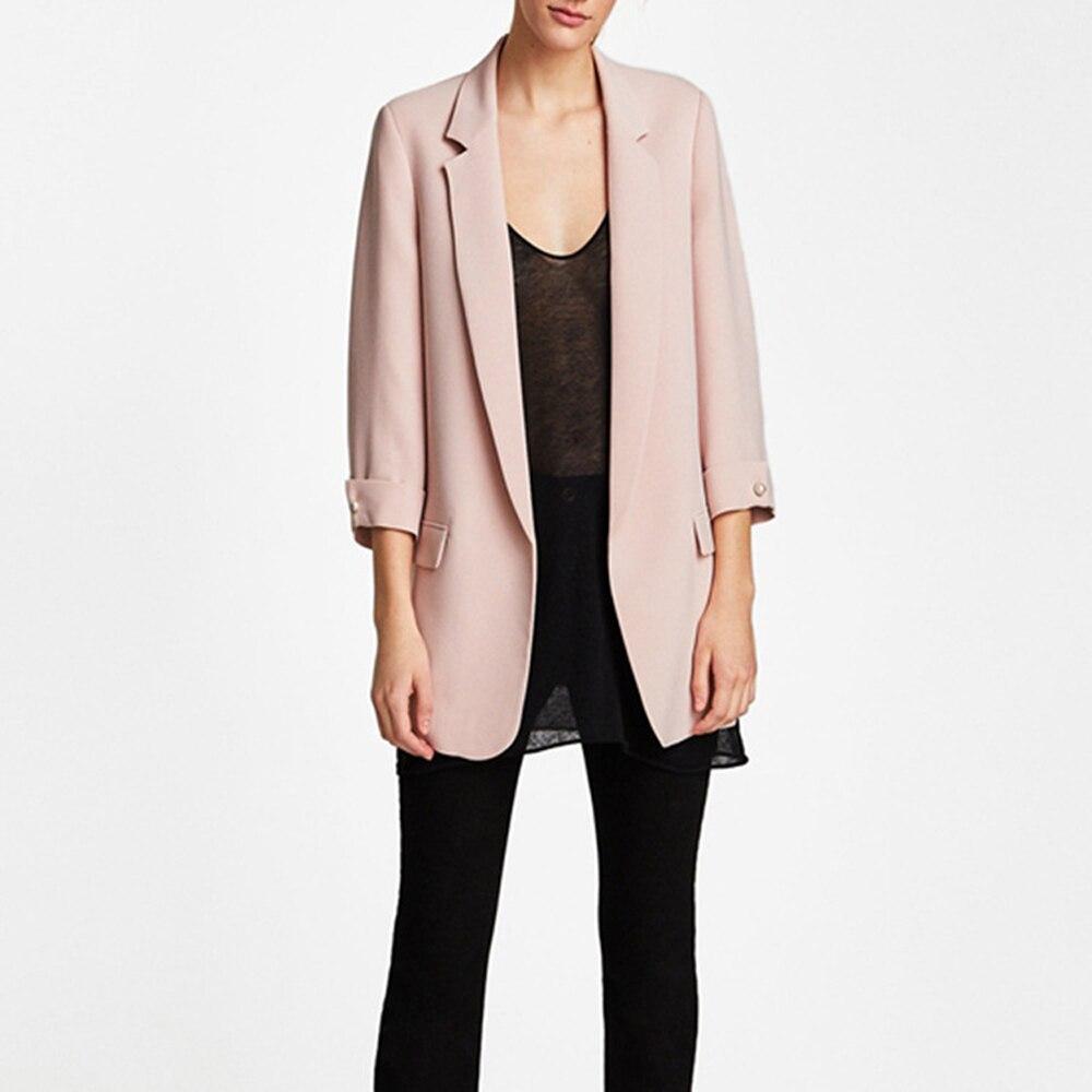 Women Long Blazer Suit Autumn Full Sleeve Slim Formal OL Workwear Cardigan Female Pink Blazer Jacket XS-L WDC1510