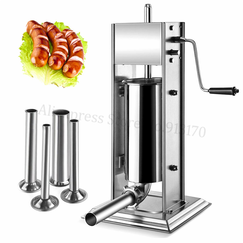 Spain Churro Machine Sausage Stuffer Stainless Steel 5L Manual Sausage Filler Meat Stuffer With 4 Size Sausage Funnel