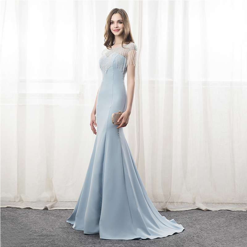 Baby Blue Sheer Neck Fairy Crystal Beading Vestidos De Festa See Through Sweep Floor Mermaid Formal   Evening     Dresses   Prom Gowns
