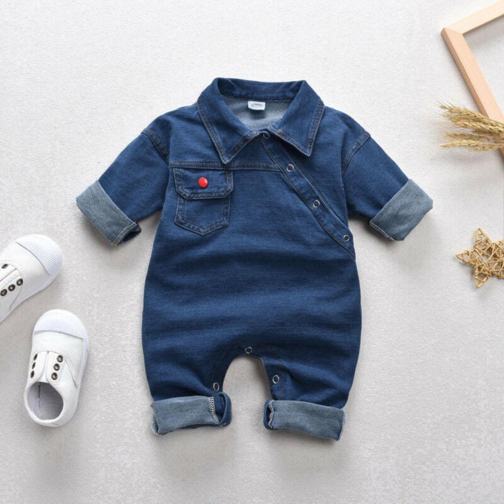 Newborn Kids Baby Boy Girl Denim Romper Bodysuit Jumpsuit Clothes Outfits Jacket Denim Wear Full Sleeve Children's Set 6m-4t
