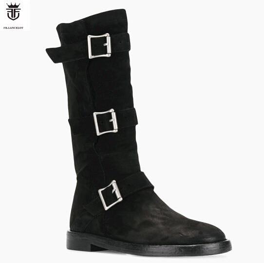 Peluche fourrure hiver hommes bottes daim mi-mollet appartements trois boucles longues Botines Zapatos De Mujer chaussures homme grande taille 38-46