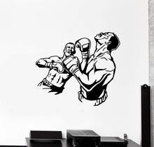 Vinyl wall decal fight boxing knockout sparring sports, gymnasium, training hall decoration QJ23