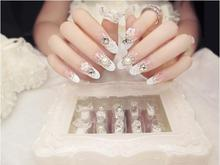 24PCS Beauty Lace Flower Bow False Nail Tips Rhinestone Pearl Fake Nails Patch Finished Nail Art Gel Polish Decals Manicure Tool