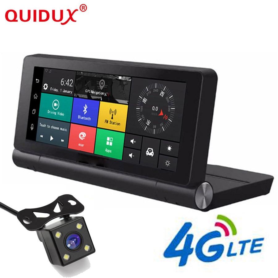 QUIDUX 7 Pouces 4G Voiture DVR Caméra GPS FHD 1080 P Android Dash Cam Navigation ADAS Voiture Enregistreur Vidéo double Lentille avec image Inversée