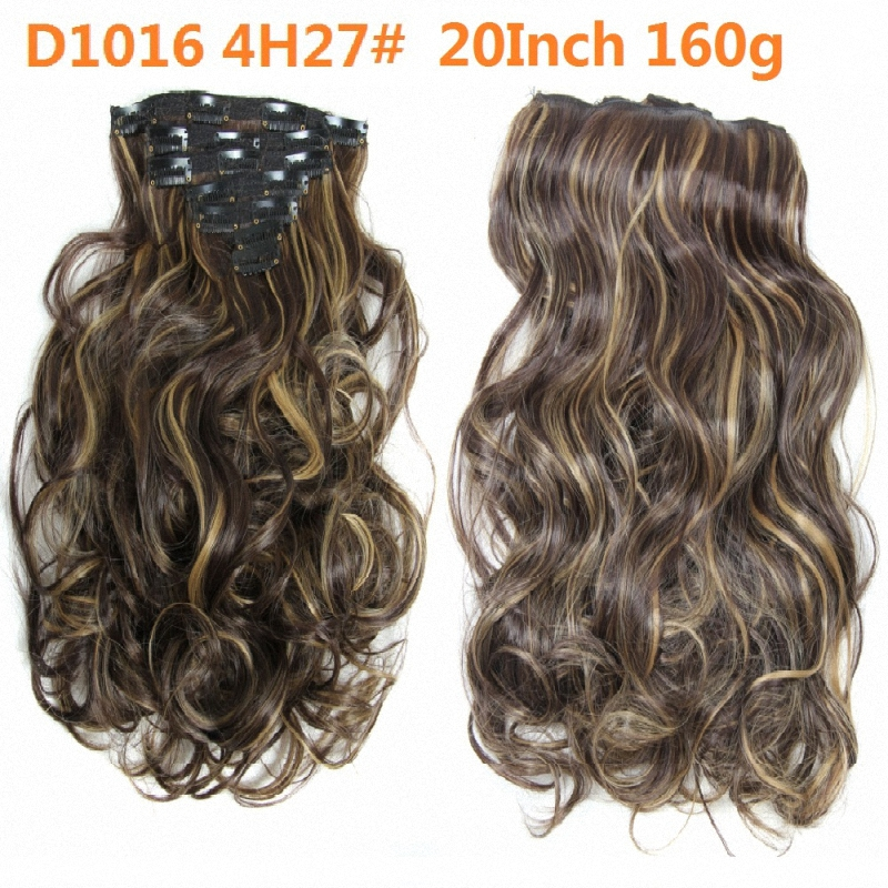 Synthetic Clip In Hair Extensions 50cm 20inch Natural Curly Hair