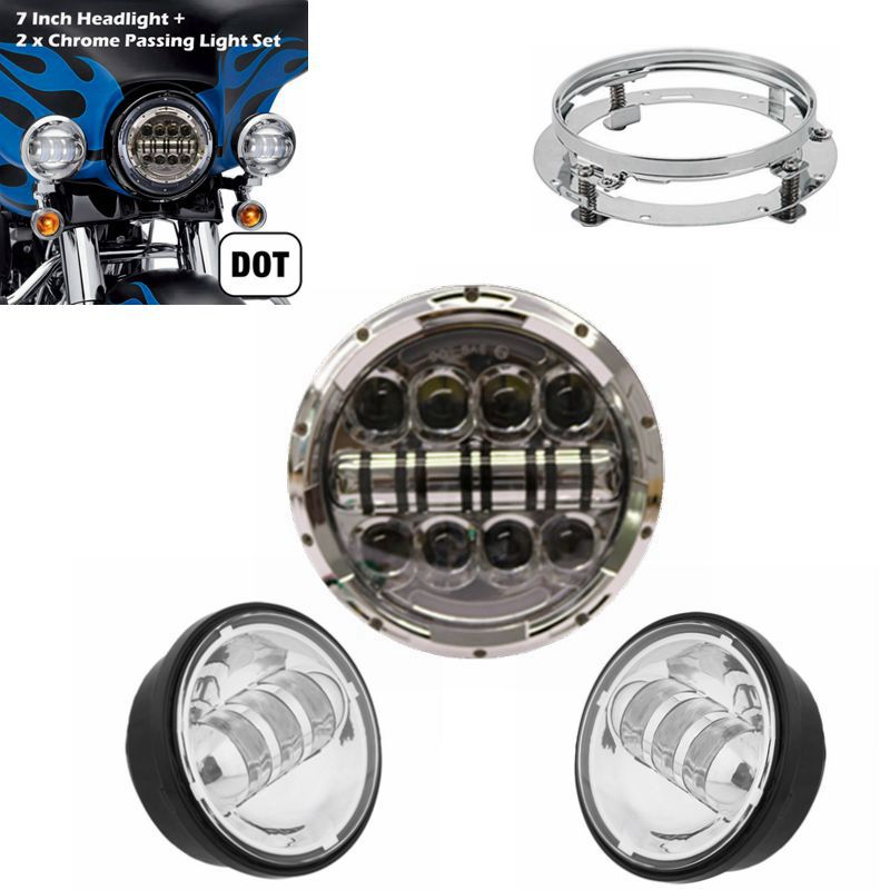 7 Inch Round 80W LED Daymaker Headlights 4.5 LED Fog Light Passing Lamps & 7 Mounting Bracket For Harley Davidson Motorcycle 7 inch 80w round led headlights high