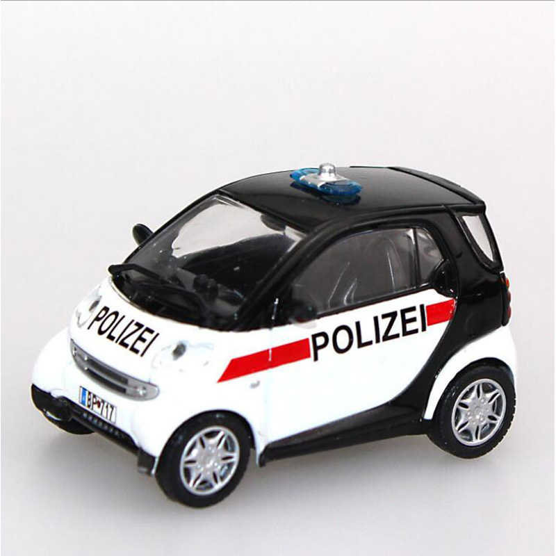 kids toys 143 scale smart city coupe zinc alloy diecast car police car display