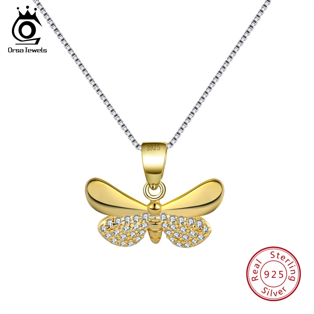 ORSA JEWELS Genuine 925 Sterling Silver Gold-color Necklaces Butterfly shape Pendant AAA Zircon Fashion Jewelry For Women SN89-G