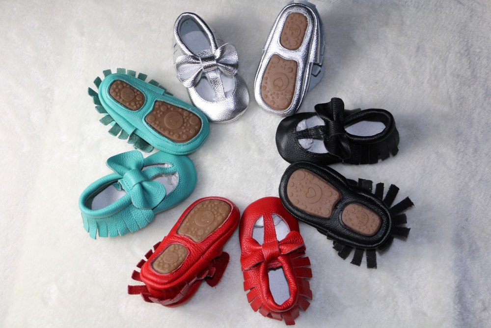 New Genuine Leather Baby Moccasins Shoes T-bar hard rubber sole bow Baby Shoes Newborn first walker toddler Shoes