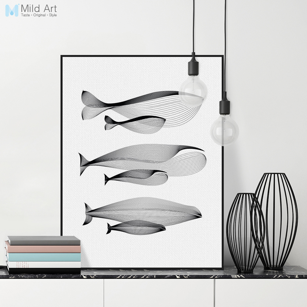 Sort Hvid Minimalistisk Animal Whale Familie Posters Udskriver Nordic Style Room Abstrakt Væg Kunst Billede Home Decor Canvas Maleri