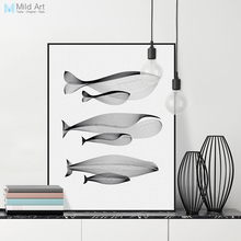 Фотография Modern Minimalist Black White Abstract Animals Whale Family Canvas Large A4 Poster Print Nordic Wall Art Home Decor Painting