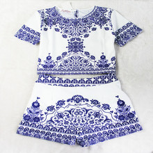 2017 summer new festa Women Plus Size China element pattern short Sleeve Top + Shorts Mini Club Party 2pcs Women's Sets